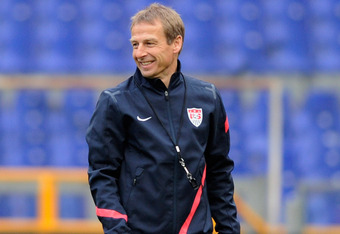 GENOA, ITALY - FEBRUARY 28:  USA head coach Jurgen Klinsmann leads a training session ahead of their international friendly against Italy at Luigi Ferraris Stadium on February 28, 2012 in Genoa, Italy.  (Photo by Claudio Villa/Getty Images)