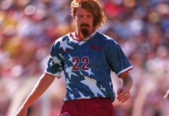 22 Jun 1994: ALEXI LALAS OF THE USA IN ACTION DURING THE USA''S 2-1 VICTORY OVER COLOMBIA DURING THE 1994 WORLD CUP AT STANFORD STADIUM IN PALO ALTO, CALIFORNIA.
