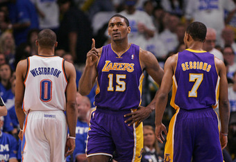 OKLAHOMA CITY, OK - MAY 16:  Metta World Peace #15 of the Los Angeles Lakers questions an officials call during the game against the Oklahoma City Thunder in Game Two of the Western Conference Semifinals in the 2012 NBA Playoffs on May 16, 2012 at the Che