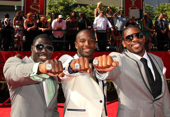 LOS ANGELES, CA - JULY 13:  NFL player's Charlie Peprah, Jarrett Bush and Desmond Bishop show off their 2011 Super Bowl rings for the Green Bay Packers arrive at The 2011 ESPY Awards at Nokia Theatre L.A. Live on July 13, 2011 in Los Angeles, California.