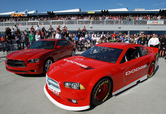 LAS VEGAS, NV - MARCH 11:  The new Dodge Charger is shown after the unveiling for the 2013 NASCAR Sprint Cup Series at Las Vegas Motor Speedway on March 11, 2012 in Las Vegas, Nevada.  (Photo by Ezra Shaw/Getty Images)