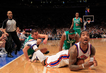 NEW YORK, NY - APRIL 17: J.R. Smith #8 of the New York Knicks call a timeout during the game against Boston Celtics at Madison Square Garden on April 17, 2012 in New York City. NOTE TO USER: User expressly acknowledges and agrees that, by downloading and/