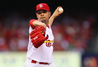 ST. LOUIS, MO - MAY 11: Starter Jaime Garcia #54 of the St. Louis Cardinals pitches against the Atlanta Braves at Busch Stadium on May 11, 2012 in St. Louis, Missouri.  (Photo by Dilip Vishwanat/Getty Images)