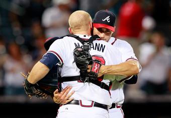 Brandon Beachy and Brian McCann share a post-game man hug..