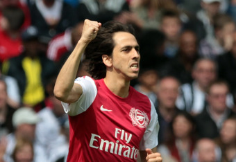 WEST BROMWICH, ENGLAND - MAY 13:  Yossi Benayoun of Arsenal celebrates after scoring during the Barclays Premier League match between West Bromwich Albion and Arsenal at The Hawthorns on May 13, 2012 in West Bromwich, England.  (Photo by Ross Kinnaird/Get