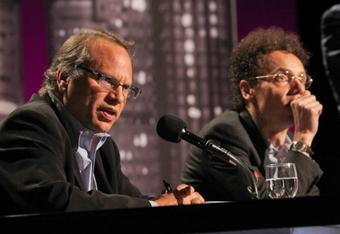 Bissinger (left) and Gladwell at the Intelligence Squared U.S. debate last week. (Photo credit: Samuel LaHoz, NPR)
