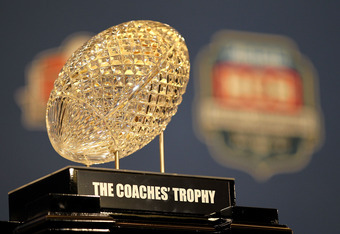 NEW ORLEANS, LA - JANUARY 10:   The Coaches' Trophy, awarded to head coach Nick Saban of the Alabama Crimson Tide after defeating Louisiana State University Tigers in the 2012 Allstate BCS National Championship Game during a press conference on January 10