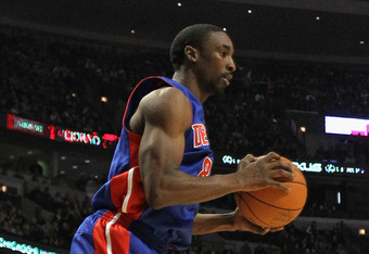 CHICAGO, IL - JANUARY 09: Ben Gordon #8 of the Detroit Pistons appears to float in the air after catching a pass against the Chicago Bulls at the United Center on January 9, 2012 in Chicago, Illinois. NOTE TO USER: User expressly acknowledges and agrees t