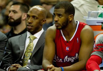 SAN ANTONIO, TX - MAY 15:  Chris Paul #3 of the Los Angeles Clippers sits on the bench late in the game next to teammate Chauncey Billups against the San Antonio Spurs in Game One of the Western Conference Semifinals in the 2012 NBA Playoffs at AT&T Cente