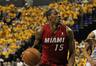 INDIANAPOLIS, IN - MAY 17: Mario Chalmers #15 of the Miami Heat drives against the Indiana Pacers in Game Three of the Eastern Conference Semifinals in the 2012 NBA Playoffs at Bankers Life Fieldhouse on May 17, 2012 in Indianapolis, Indiana. The Pacers d