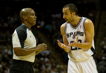 SAN ANTONIO, TX - MAY 15:  Manu Ginobili #20 of the San Antonio Spurs argues a call with a referee during a break in the action against the Los Angeles Clippers in Game One of the Western Conference Semifinals in the 2012 NBA Playoffs at AT&T Center on Ma
