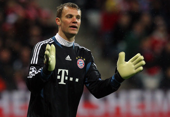 MUNICH, GERMANY - APRIL 03:  Manuel Neuer, goalkeeper of Muenchen reacts during the UEFA Champions League quarter-final second leg match at Allianz Arena on April 3, 2012 in Munich, Germany.  (Photo by Martin Rose/Bongarts/Getty Images)