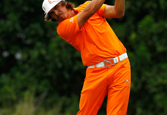 PONTE VEDRA BEACH, FL - MAY 13:  Rickie Fowler of the United States hits his tee shot on the 11th hole during the final round of THE PLAYERS Championship held at THE PLAYERS Stadium course at TPC Sawgrass on May 13, 2012 in Ponte Vedra Beach, Florida.  (P