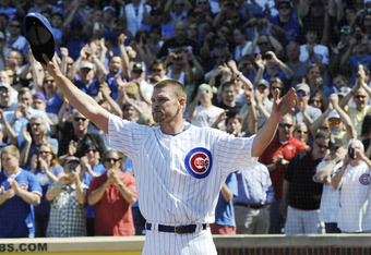 Kerry Wood acknowledges the Wrigley crowd one last time.