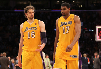 LOS ANGELES, CA - MAY 19:  Pau Gasol #16 and Andrew Bynum #17 of the Los Angeles Lakers react after losing 103-100 to the Oklahoma City Thunder in Game Four of the Western Conference Semifinals in the 2012 NBA Playoffs on May 19 at Staples Center in Los A