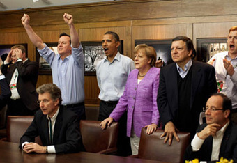 """The moment"" hit President Barack Obama, British Prime Minister David Cameron and German chancellor Anglea Merkel  at the same time"