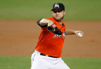 MIAMI, FL - APRIL 30:  Mark Buehrle #56 of the Miami Marlins pitches during a game against the Arizona Diamondbacks at Marlins Park on April 30, 2012 in Miami, Florida.  (Photo by Sarah Glenn/Getty Images)