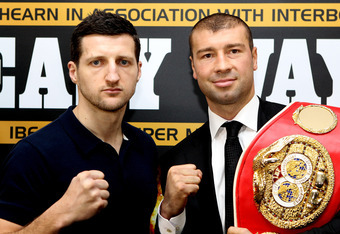 NOTTINGHAM, ENGLAND - MARCH 19:  Carl Froch (L) and Lucian Bute during a press conference to promote their Super Middleweight bout on Saturday May 26th at Nottingham Capital FM Arena on March 19, 2012 in Nottingham, England.  (Photo by Scott Heavey/Getty