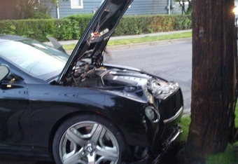 Jon Jones' wrecked New Continental GT Bentley, as reported by WBNG Action News in Binghamton, New York.