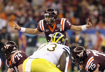 NEW ORLEANS, LA - JANUARY 03:  Logan Thomas #3 of the Virginia Tech Hokies gestures as he calls signals out behind the line of scrimmage against the Michigan Wolverines during the Allstate Sugar Bowl at Mercedes-Benz Superdome on January 3, 2012 in New Or