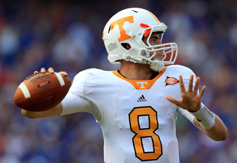 GAINESVILLE, FL - SEPTEMBER 17:  Quarterback Tyler Bray #8 of the Tennessee Volunteers attempts a pass during a game against the Florida Gators at Ben Hill Griffin Stadium on September 17, 2011 in Gainesville, Florida.  (Photo by Sam Greenwood/Getty Image