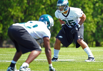 PHILADELPHIA, PA - MAY 12: Mychal Kendricks #95 of the Philadelphia Eagles lines up for a drill during rookie minicamp at their practice facility on May 12, 2012 in Philadelphia, Pennsylvania. (Photo by Rich Schultz /Getty Images)