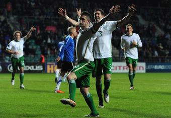 Keane celebrates scoring against Estonia in the Republic's 4-0 win over them last November.
