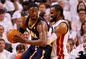 MIAMI, FL - MAY 15:  Roy Hibbert #55 of the Indiana Pacers posts up Ronny Turiaf #21 of the Miami Heat during Game Two of the Eastern Conference Semifinals in the 2012 NBA Playoffs  at AmericanAirlines Arena on May 15, 2012 in Miami, Florida. NOTE TO USER