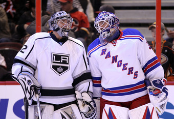 OTTAWA, ON - JANUARY 28:  Jonathan Quick #32 of the Los Angeles Kings talks with Henrik Lundqvist #30 of the New York Rangers and Team Alfredsson prior to the 2012 Molson Canadian NHL All-Star Skills Competition at Scotiabank Place on January 28, 2012 in