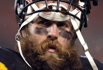 CLEVELAND, OH - JANUARY 01: Defensive end Brett Keisel #99 of the Pittsburgh Steelers walks off the field against the Cleveland Browns at Cleveland Browns Stadium on January 1, 2012 in Cleveland, Ohio. (Photo by Matt Sullivan/Getty Images)