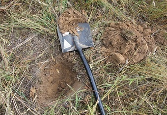 "Dig 6""-8"" deep and then take the soil test sample.  The amount in the shovel is enough to package up and send off."