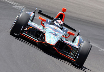 INDIANAPOLIS, IN - MAY 18:  JR Hildebrand drives the #4 National Guard Panther Racing car during Indianapolis 500 practice at Indianapolis Motor Speedway on May 18, 2012 in Indianapolis, Indiana.  (Photo by Andy Lyons/Getty Images)