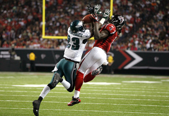 ATLANTA, GA - SEPTEMBER 18:  Dominique Rodgers-Cromartie #23 of the Philadelphia Eagles breaks up a pass intended for Julio Jones #11 of the Atlanta Falcons at Georgia Dome on September 18, 2011 in Atlanta, Georgia.  (Photo by Kevin C. Cox/Getty Images)