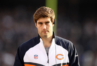 OAKLAND, CA - NOVEMBER 27:  Injured starting quarterback Jay Cutler of the Chicago Bears stands on the sideline during their game against the Oakland Raiders  at O.co Coliseum on November 27, 2011 in Oakland, California.  (Photo by Ezra Shaw/Getty Images)
