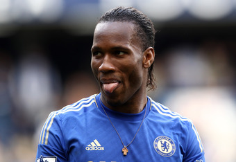LONDON, ENGLAND - MAY 13:  Didier Drogba of Chelsea applauds the fans during the Barclays Premier League match between Chelsea and Blackburn Rovers at Stamford Bridge on May 13, 2012 in London, England.  (Photo by Ian Walton/Getty Images)