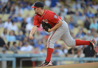 LOS ANGELES, CA - APRIL 28:  Stephen Strasburg #37 of the Washington Nationals pitches during the first inning against the Los Angeles Dodgers at Dodger Stadium on April 28, 2012 in Los Angeles, California.  (Photo by Harry How/Getty Images)