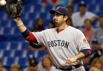 ST. PETERSBURG, FL - MAY 16:  First baseman Adrian Gonzalez #28 of the Boston Red Sox takes the throw at first against the Tampa Bay Rays during the game at Tropicana Field on May 16, 2012 in St. Petersburg, Florida.  (Photo by J. Meric/Getty Images)