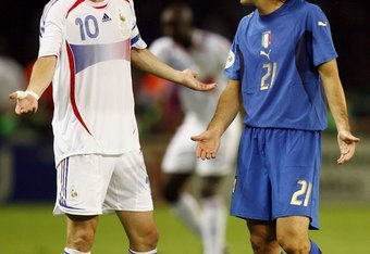 Pirlo was named the Man of the Match in Italy's World Cup Final triumph against Zinedine Zidane and France in 2006.
