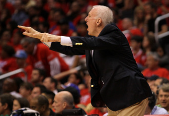LOS ANGELES, CA - MAY 19:  Head coach Gregg Popovich of the San Antonio Spurs shouts and gestures in the game against the Los Angeles Clippers in Game Three of the Western Conference Semifinals in the 2012 NBA Playoffs on May 19, 2011 at Staples Center in