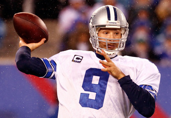 EAST RUTHERFORD, NJ - JANUARY 01:  Tony Romo #9 of the Dallas Cowboys drops back to pass against the New York Giants at MetLife Stadium on January 1, 2012 in East Rutherford, New Jersey.  (Photo by Jeff Zelevansky/Getty Images)
