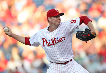 PHILADELPHIA - MAY 22: Starting pitcher Roy Halladay #34 of the Philadelphia Phillies throws a pitch during a game against the Washington Nationals at Citizens Bank Park on May 22, 2012 in Philadelphia, Pennsylvania. (Photo by Hunter Martin/Getty Images)