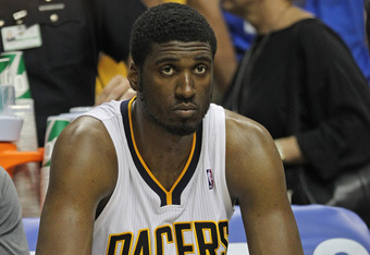 INDIANAPOLIS, IN - MAY 20: Roy Hibbert #55 of the Indiana Pacers sits on the bench near the end of Game Four of the Eastern Conference Semifinals against the Miami Heat in the 2012 NBA Playoffs at Bankers Life Fieldhouse on May 20, 2012 in Indianapolis, I