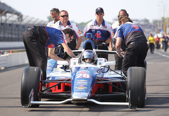 INDIANAPOLIS, IN - MAY 19:  The #26 Team RC Cola car is pushed down pit road during qualifying for the Indianapolis 500 at Indianapolis Motor Speedway on May 19, 2012 in Indianapolis, Indiana.  (Photo by Andy Lyons/Getty Images)