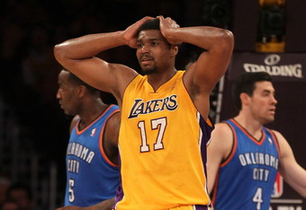 LOS ANGELES, CA - MAY 19:  Andrew Bynum #17 of the Los Angeles Lakers reacts in the first period while taking on the Oklahoma City Thunder in Game Four of the Western Conference Semifinals in the 2012 NBA Playoffs on May 19 at Staples Center in Los Angele