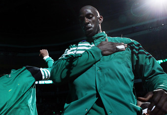 BOSTON, MA - MAY 14:  Kevin Garnett #5 of the Boston Celtics walks on the court during player introductions before Game Two of the Eastern Conference Semifinals in the 2012 NBA Playoffs on May 14, 2012 at TD Garden in Boston, Massachusetts. NOTE TO USER: