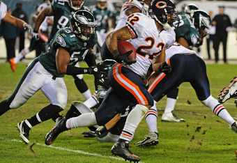 PHILADELPHIA, PA - NOVEMBER 7: Matt Forte #22 of the Chicago Bears carries the ball against the Philadelphia Eagles at Lincoln Financial Field on November 7, 2011 in Phildelphia, Pennsylvania. (Photo by Scott Cunningham/Getty Images)