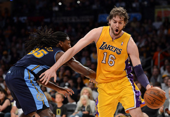 LOS ANGELES, CA - MAY 12:  Pau Gasol #16 of the Los Angeles Lakers drives on Kenneth Faried #35 of the Denver Nuggets in the first quarter in Game Seven of the Western Conference Quarterfinals in the 2012 NBA Playoffs on May 12, 2012 at Staples Center in