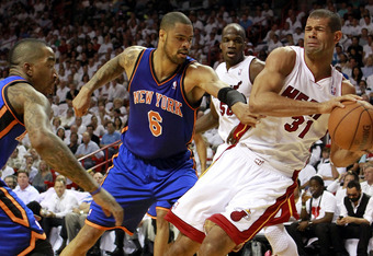 MIAMI, FL - MAY 09:  Center Tyson Chandler #6 of the New York Knicks has the ball stolen by Forward Shane Battier #31 of the Miami Heat in Game Five of the Eastern Conference Quarterfinals in the 2012 NBA Playoffs  on May 9, 2012 at the American Airines A