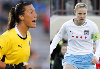 Pictured above, Jillian Lloyden and Lindsay Tarpley during their tenure with the Chicago Red Stars. Despite great crowds in the same stadium for the Chicago Fire, the Red Stars folded after two years.