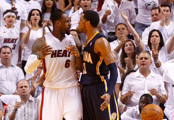 MIAMI, FL - MAY 15:  LeBron James #6 of the Miami Heat argues with Danny Granger #33 of the Indiana Pacers during Game Two of the Eastern Conference Semifinals in the 2012 NBA Playoffs  at AmericanAirlines Arena on May 15, 2012 in Miami, Florida. NOTE TO
